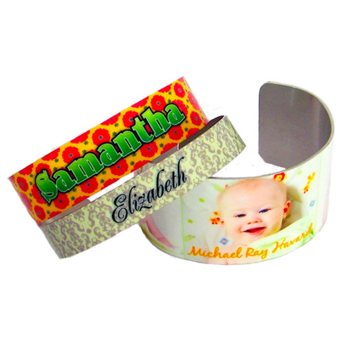 Custom Personalized Photo Cuff Bracelets w/ Your Picture, Name, Design, Logo