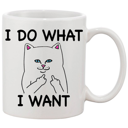 I Do What I Want - Cat Giving the Finger / Coffee  Risque Funny Mug