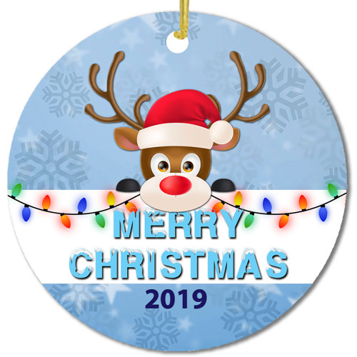 Merry Christmas Reindeer with Holiday Lights- Custom & Personalized