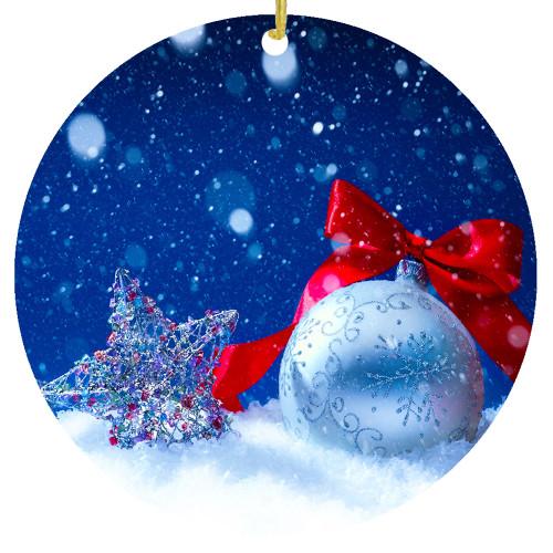 Custom Snowy Ornament - Add a Name / Date