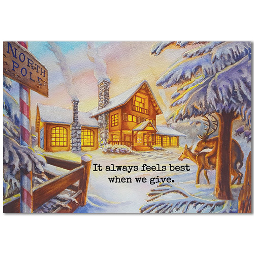 Cupids Farewell Christmas Holiday/Greeting Cards (6 Cards)