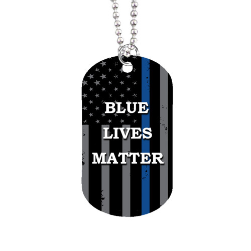 Blue Lives Matter Dog Tag / Custom Add Photo Text