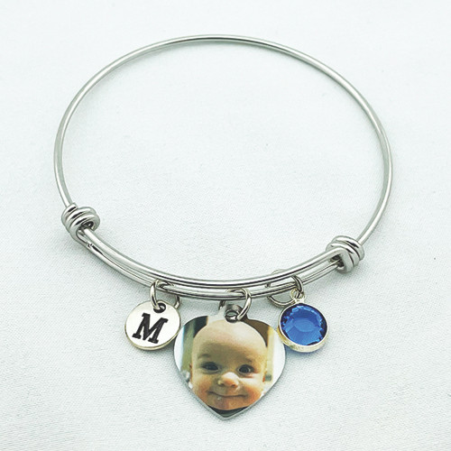 Custom Photo Stainless Steel Bangle Photo Bracelet
