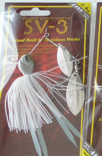 Megabass SV-3 Spinnerbait 3/4 oz  Double Willow # Pearl Shad NEW