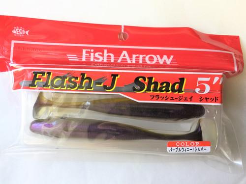 """Fish Arrow FLASH-J SHAD 5"""" #05 Purple Winnie/Silver NEW"""