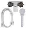 "4"" RV Tub and Shower Diverter Faucet White/Smoke with Handheld Shower Head & Hose"