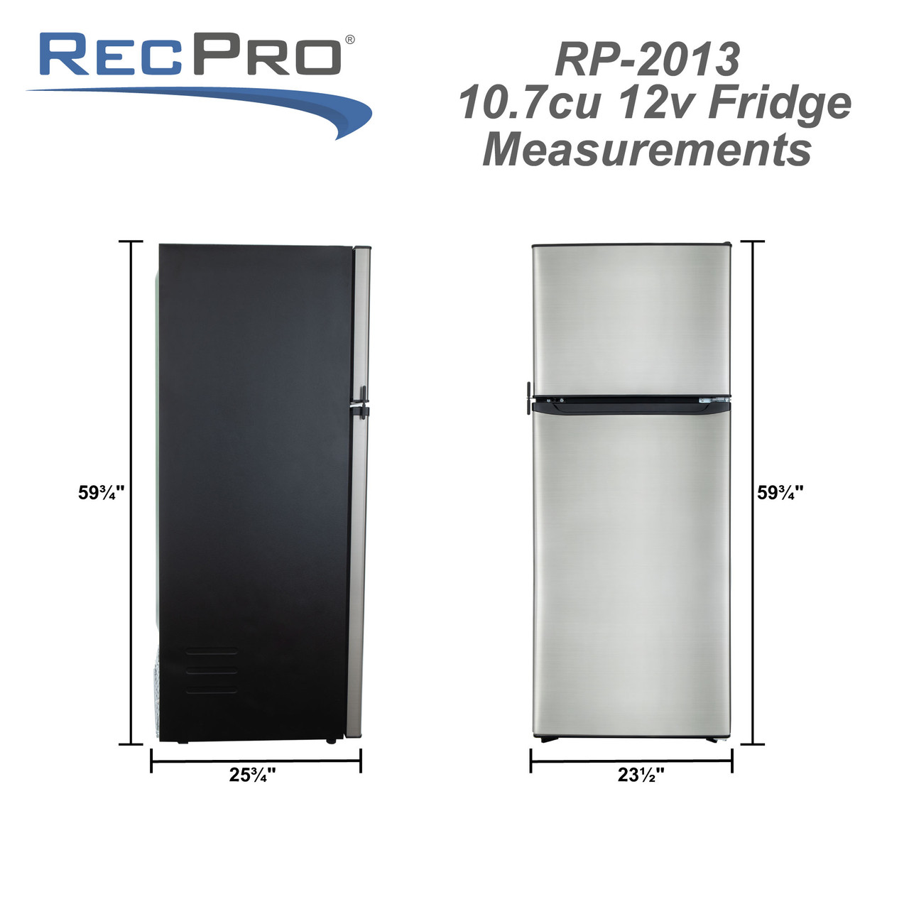 Rv Refrigerator 10 7 Cubic Feet 12v Stainless Steel Recpro