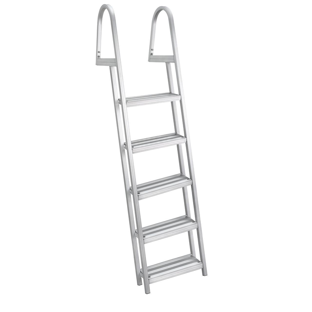 Marine 4 Step Heavy Duty Rear Entry Pontoon Boat Ladder Dock Ladder w// Handrails