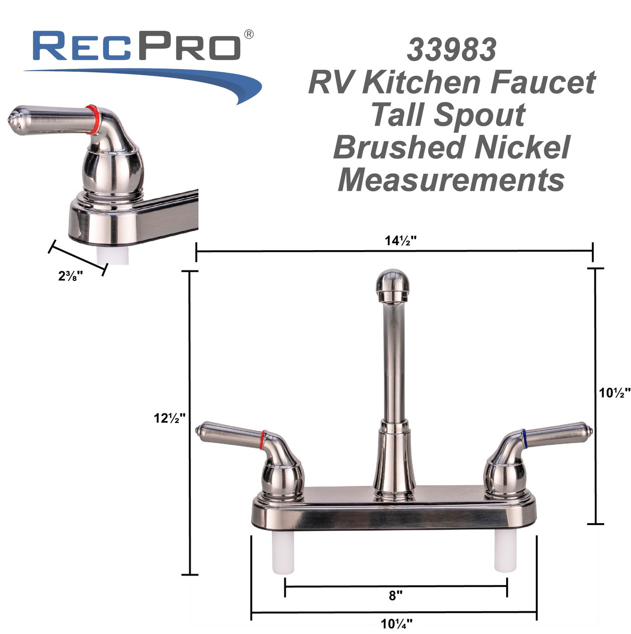 Rv Kitchen Faucet Tall Spout Brushed Nickel Recpro