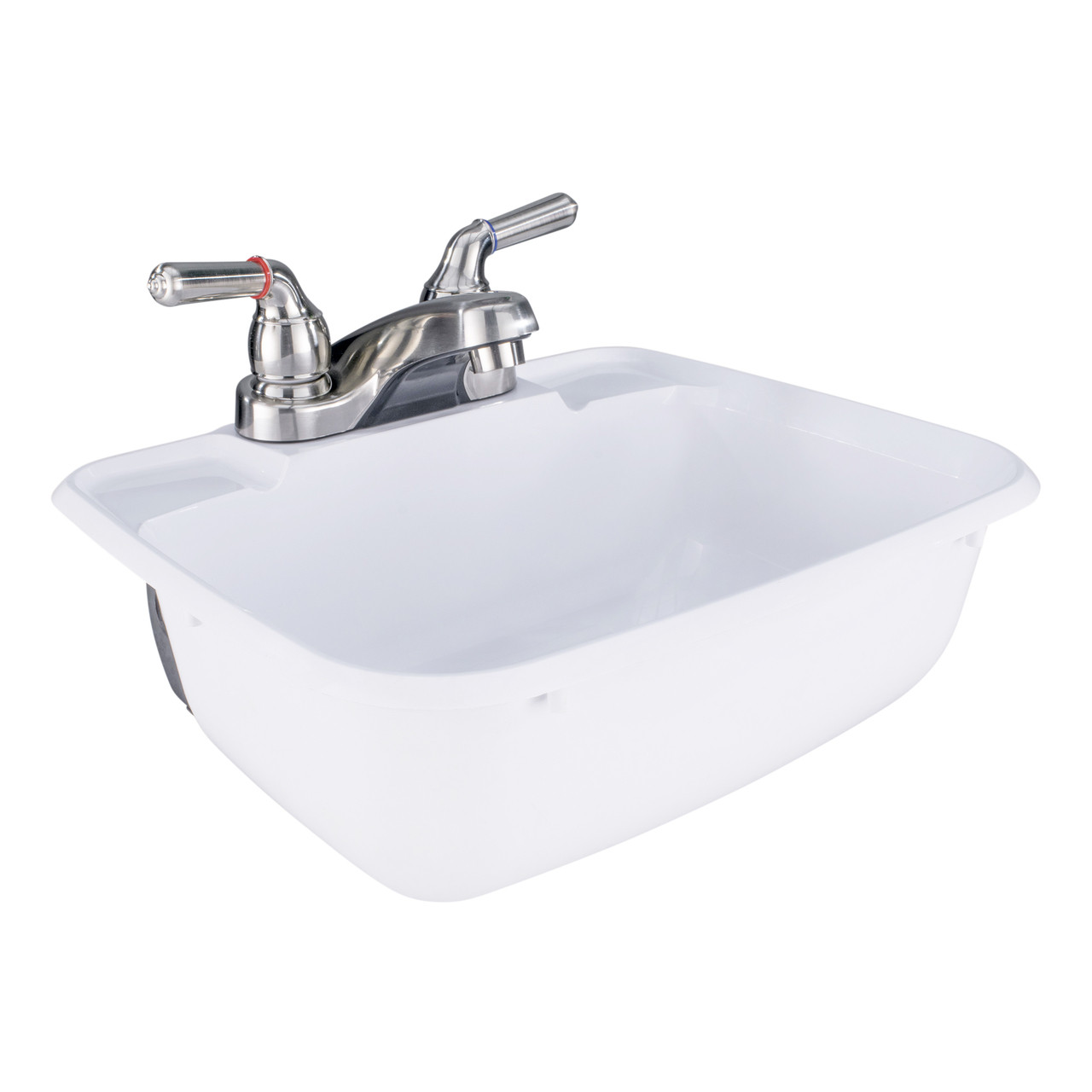 White Rectangle Rv Bathroom Sink W Brushed Nickel Faucet Combo Recpro