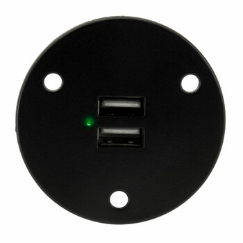 RV Dual USB Charger Socket Black Recessed Mount