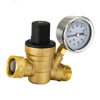 RV Brass Water Pressure Regulator with Gauge
