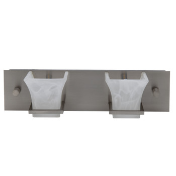 RV Vanity Light Satin Nickel Frosted Glass 2 Light