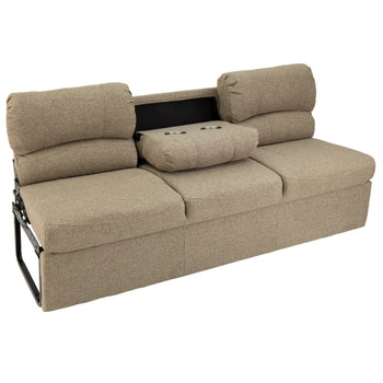 "RecPro Charles 72"" RV Jackknife Sleeper Sofa with Drop-Down Cupholders in Cloth"
