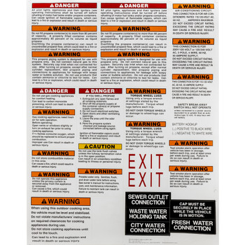 RV Safety Sticker Sheet RVIA and CSA Compliant