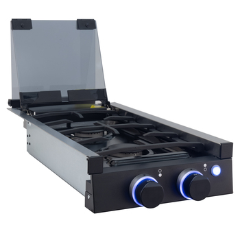 RV Double Burner Gas Cooktop with Cover