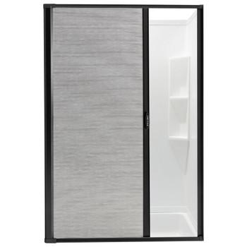 RV Retractable Rolling Shower Door Black