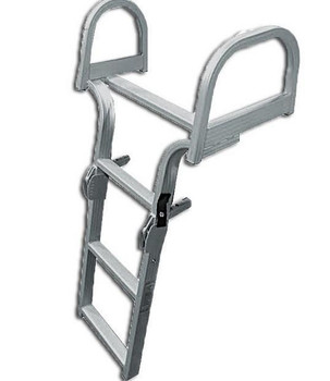 AL-D4 Aluminum Rear Entry Four Step Pontoon Boat Ladder