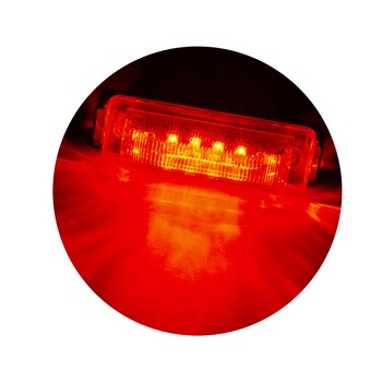 "4"" x 1"" Rectangle RV LED Marker Light Clear/Red"
