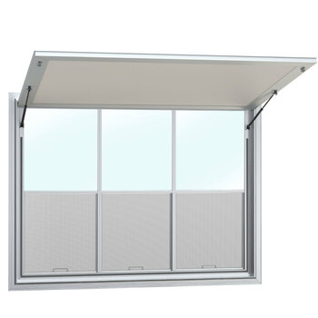 Custom Concession Stand Windows and Awnings with 3 Vertical Lift Windows