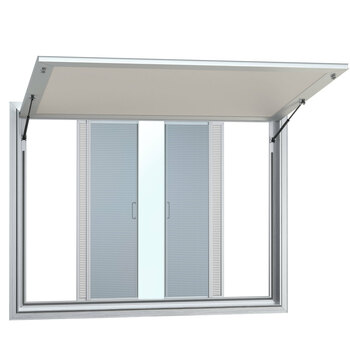 Custom Concession Stand Windows and Awnings with 2 Horizontal Slide Windows with Solid Center