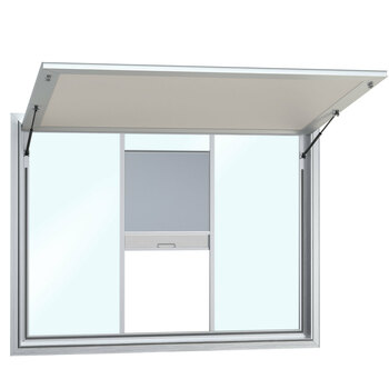 Custom Concession Stand Windows and Awnings with 1 Center Vertical Lift Window with Solid Sides