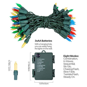 17.7' Multi Color Battery Operated String Christmas Lights