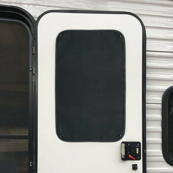 RV Window Shade for Entry Door w/ Snaps - Black