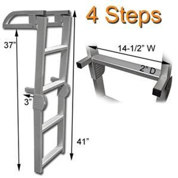 AL C4 Four Step Quick Release Folding Aluminum Pontoon Boat Ladder