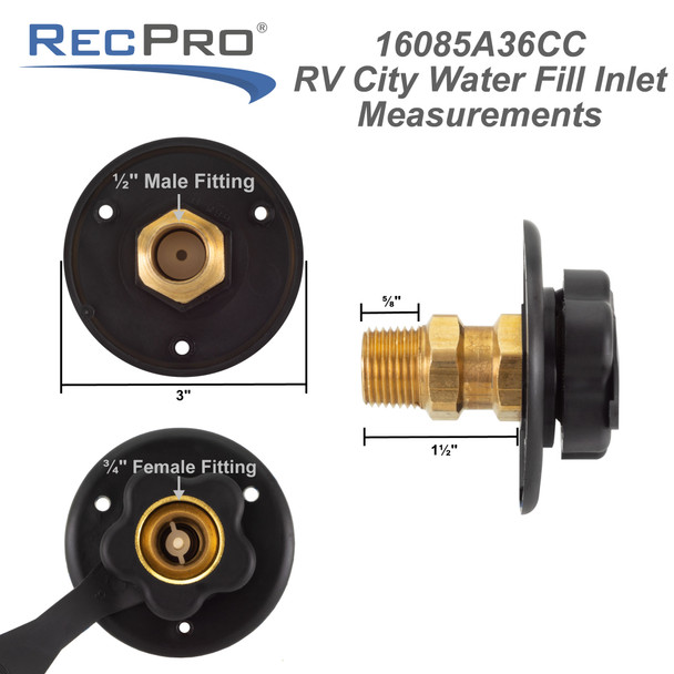 RecPro RV Black City Water Fill Inlet Brass with Check Valve