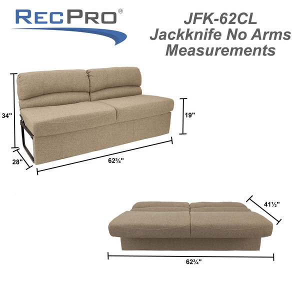 "62"" RV Jackknife Sleeper Sofa with Optional Legs Cloth"