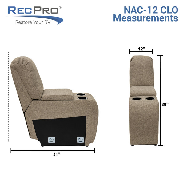 """RecPro Charles 12"""" RV Furniture Comfort Console with Cup Holders and Storage in Cloth"""