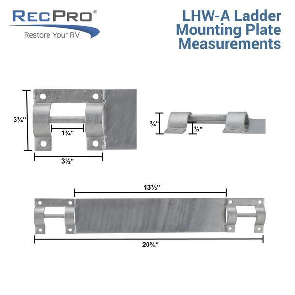 Ladder Mount Heavy Duty | Marine | AL-A3, AL-A4 and AL-A5 | Pontoon Boat | Dock Ladders | Galvanized Steel