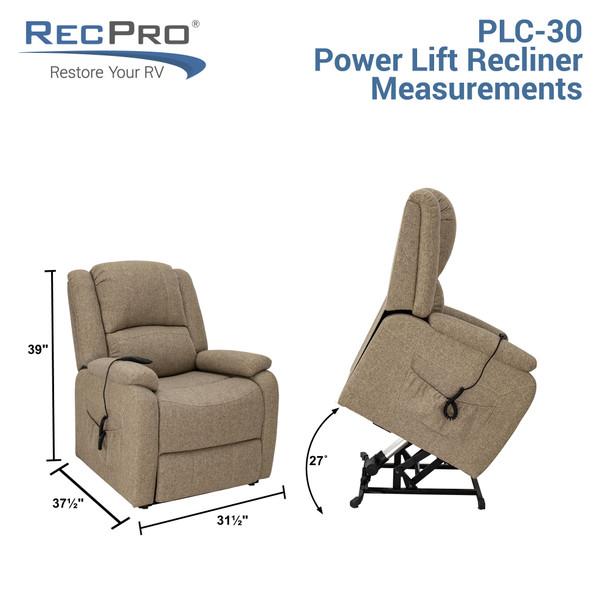 "RecPro 30"" RV Reclining Power Lift Chair Handicap Assist Recliner in Cloth"