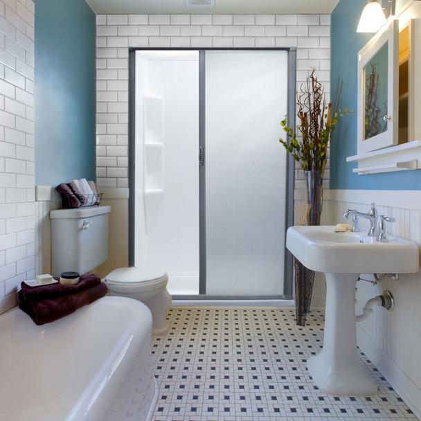 RV Retractable Rolling Shower Door Platinum