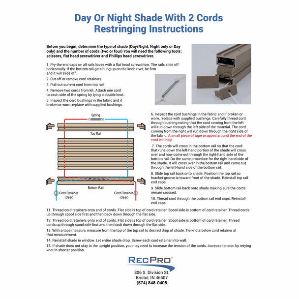 RV Pleated Shade Repair Kit
