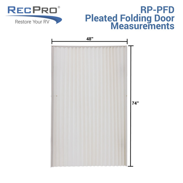 "RV Pleated Folding Door 48"" x 75"" Ivory"