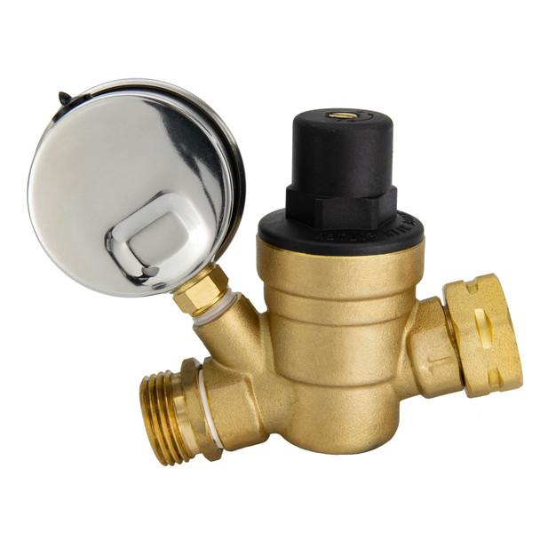 RV Brass Water Pressure Regulator with Gauge