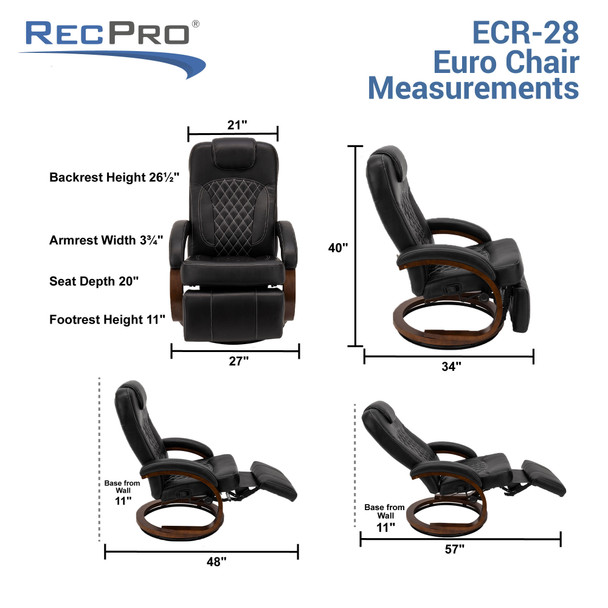 "RecPro Nash 28"" RV Euro Chair Recliner in Black RV Furniture"