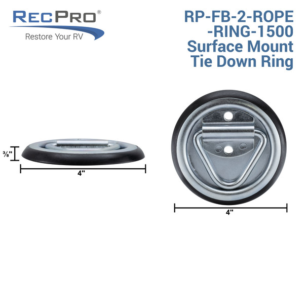 Surface Mount D-Ring Tie-Down Anchor Rope Ring for RV Furniture, Toy Haulers, or Trailers