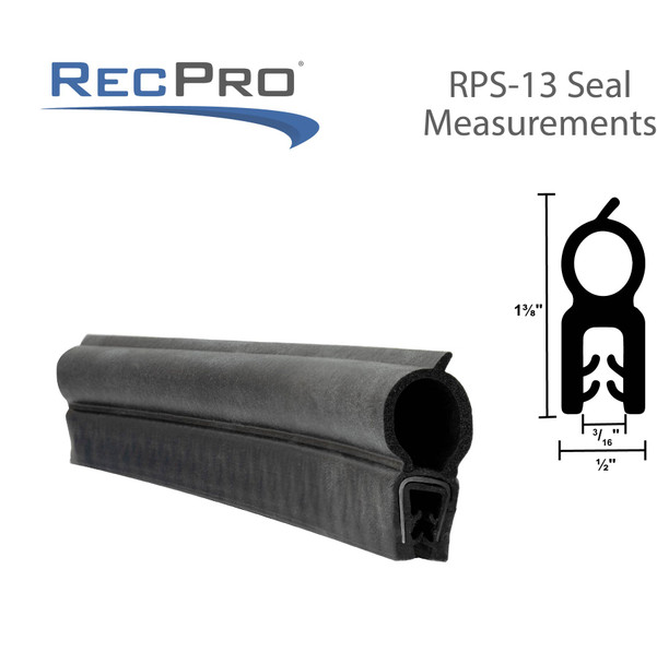 """RV Compartment Door Seal 1-1/4"""" Vertical Bulb 1/8"""" Flange Clip-On"""