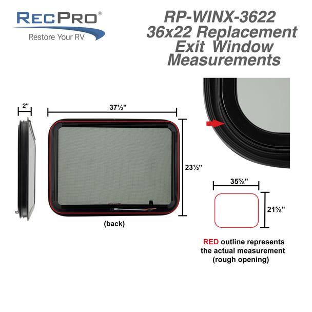 """RV Exit Window 36""""W x 22""""H Optional Trim"""