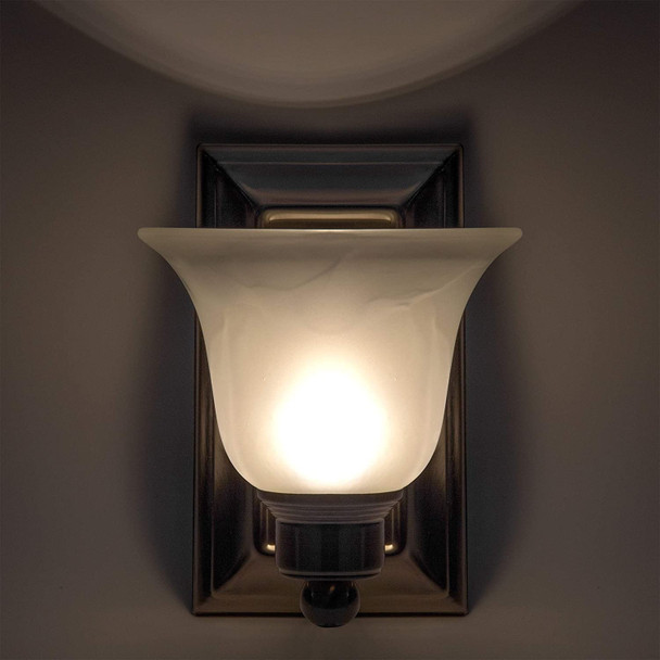 RV Wall Sconce Frosted White Textured Glass Satin Nickel Warm White Light