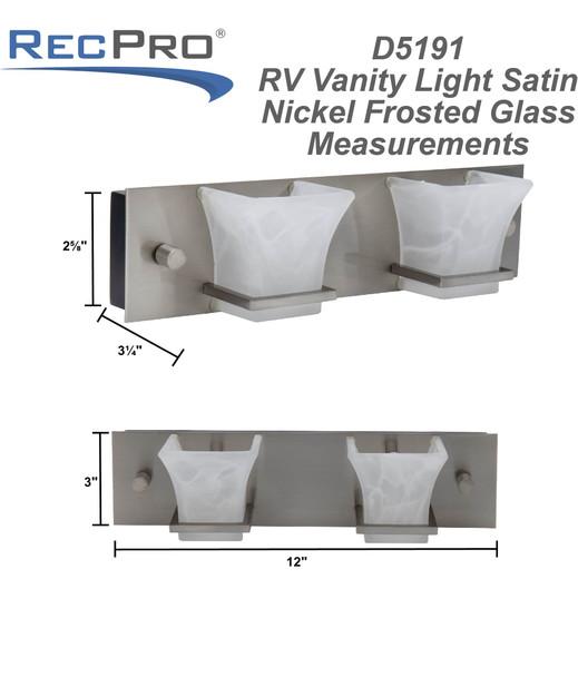 RV Vanity Light Satin Nickel Frosted Glass 2 Light