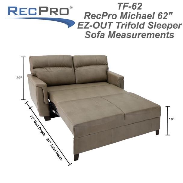 "RV Trifold 62"" RV Sofa Bed RV Loveseat"