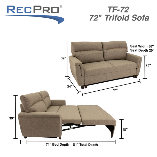 """RecPro Michael 72"""" EZ-OUT Trifold Sleeper Sofa in Cloth"""