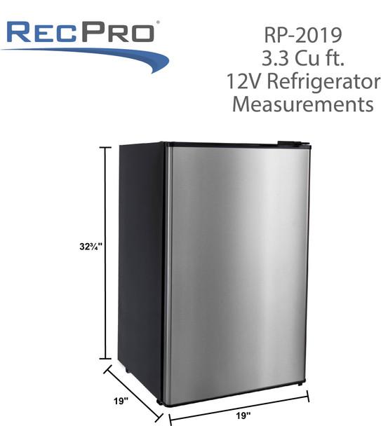 RV Refrigerator 3.3 Cubic Feet 12V Stainless Steel