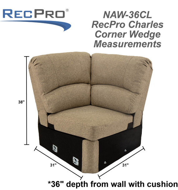 """RecPro Charles 31"""" Corner Wedge RV Furniture in Cloth"""