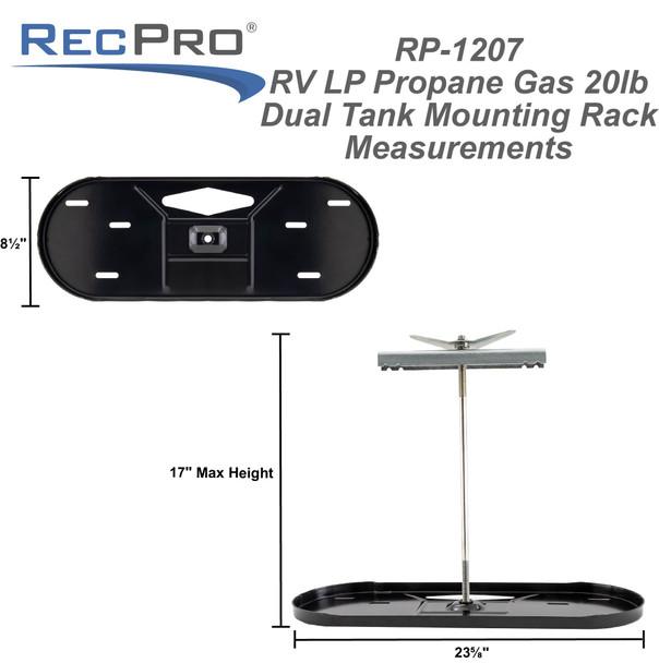 RV LP Propane Gas Dual Tank Mounting Rack