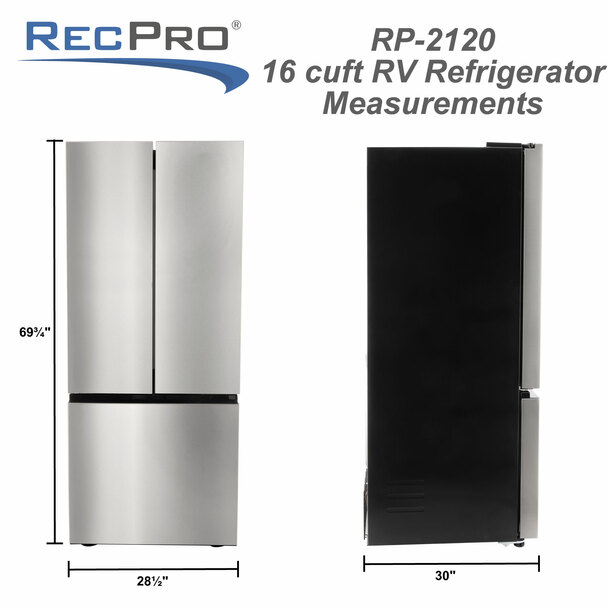 17.7 Cubic Foot RV 12v Refrigerator with French Doors Stainless